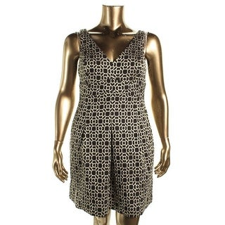 Lauren Ralph Lauren Womens Petites Metallic Jacquard Cocktail Dress