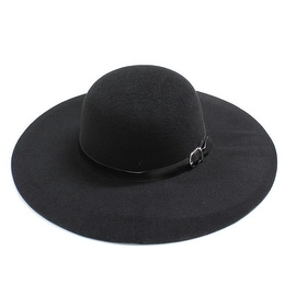 Womens Wide Brim Floppy Felt Hat with Buckle