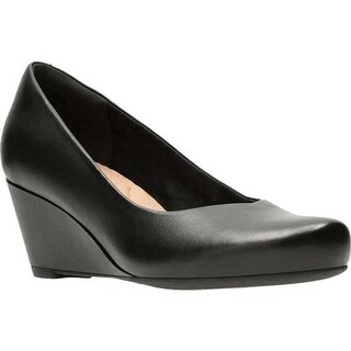 Clarks Women's Flores Tulip Wedge Black Full Grain Leather