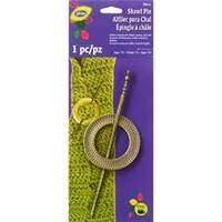 Brass - Textured Round Metal Shawl Pin