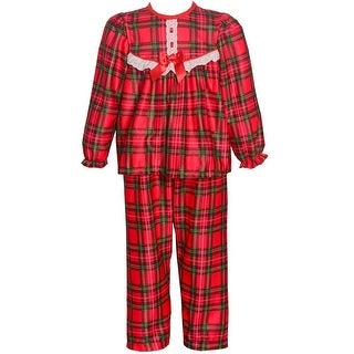 Laura Dare Little Girls Red Plaid Eyelet Trim Long Sleeve 2 Pc Pajama Set