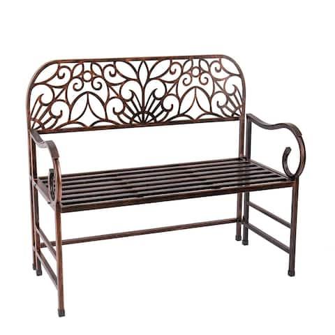Antique Bronze Metal Garden Bench - 43x38x20