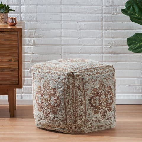 Conster Hand-Loomed Fabric Cube Pouf by Christopher Knight Home