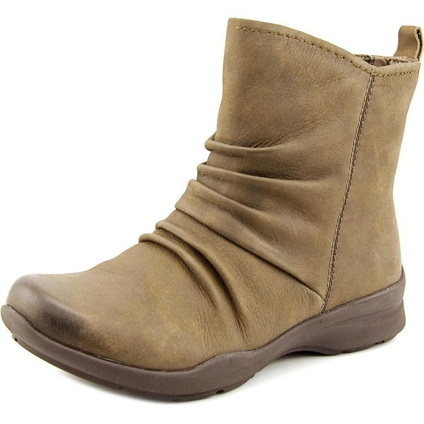 Earth Treasure Women Round Toe Leather Ankle Boot