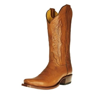 Cinch Western Boots Men Square Toe Leather Cowboy Pull Tabs Tan CFM604