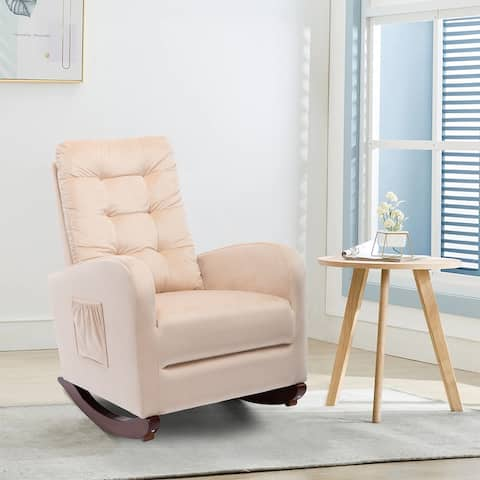 AOOLIVE Upholstered Rocking Chair Padded Seat Foam Rocker