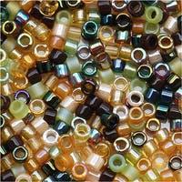 Miyuki Delica Seed Beads Mix Lot 11/0 Earthtone Brown Tan Green 7.2 Grams