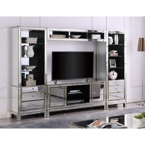 Best Master Furnitures 4 Piece Silver Mirrored Entertainment Center