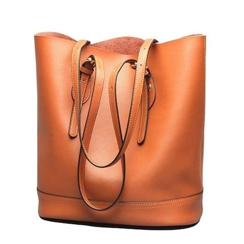 Women's Handbag Leather Tote Shoulder Bucket Bags Large Capacity