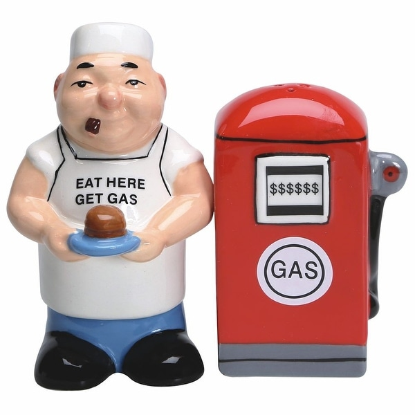 "Eat Here Get Gas - Novelty Salt And Pepper Shakers - Ceramic - 4"" High"