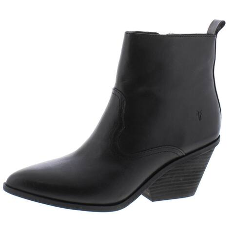 Frye Womens Amado Ankle Boots Faux Leather Block Heel - Black