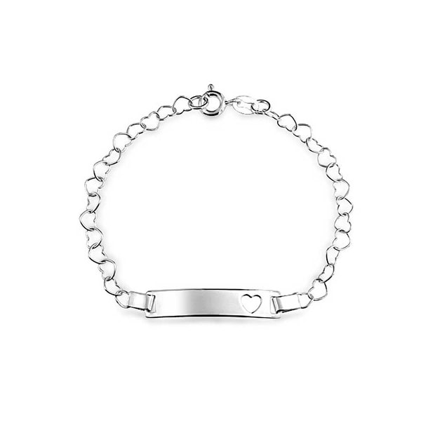 eaeff5d5909aa Delicate Cut Out Heart ID Bracelet Engravable Name Plate Bar 925 Silver  Sterling Small Wrists 6 Inch