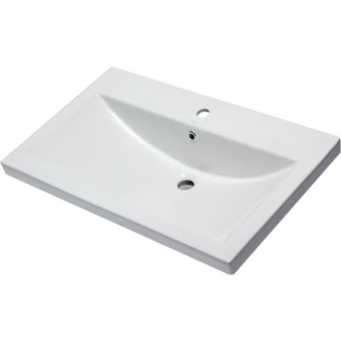 "Eago BH001 31-1/2"" Drop in Bathroom Sink with Overflow - White"