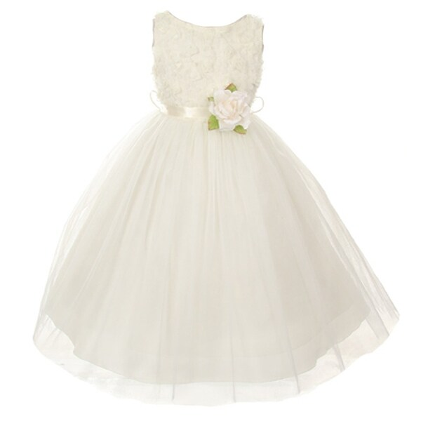 67d5d1801920 Shop Little Girls Ivory Chiffon Rosebud Applique Bodice Tulle Flower ...