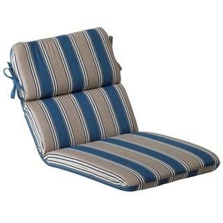 Outdoor Patio Furniture High Back Chair Cushion - Blue and Tan Stripe