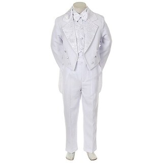 Angels Garment Toddler Little Boys White Notched Tuxedo 5 Pc Set 6M-20