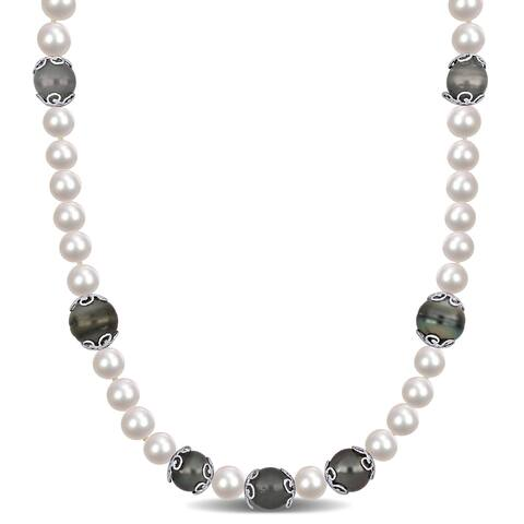 Miadora Sterling Silver Cultured Freshwater and Tahitian Pearl Station Strand Necklace (9-14 mm) - 18 inch x 10 mm x 10 mm
