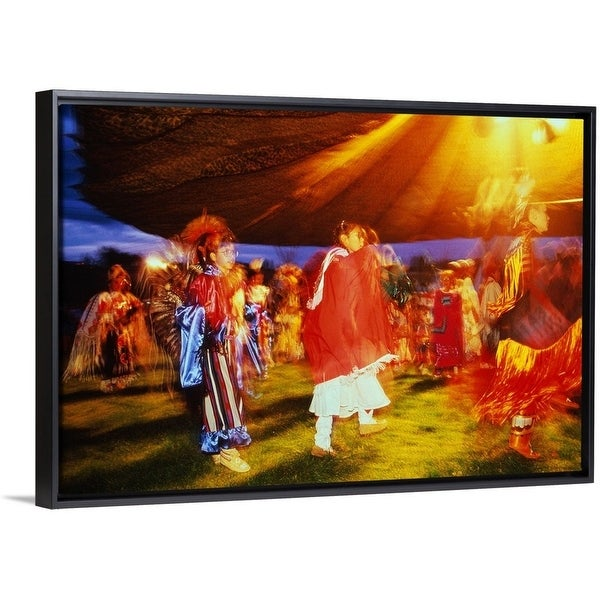 Floating Frame Premium Canvas with Black Frame entitled Native American pow  wow at the Omak Rodeo c0c0e14bee24