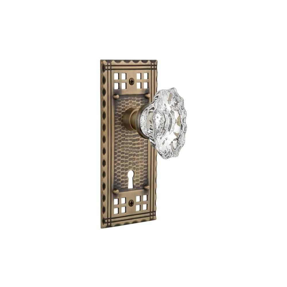Nostalgic Warehouse CRACHA_MRT_214_KH  Chateau Solid Brass Skeleton Keyed Entry Mortise Handleset with Craftsman Rose, Keyhole (Timeless Bronze)