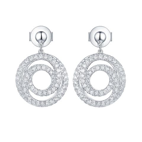 Vedantti 0.50Ct Round G-H/VVS1 Natural Diamond Open Tri-Circle Everyday Wear Drop Earring