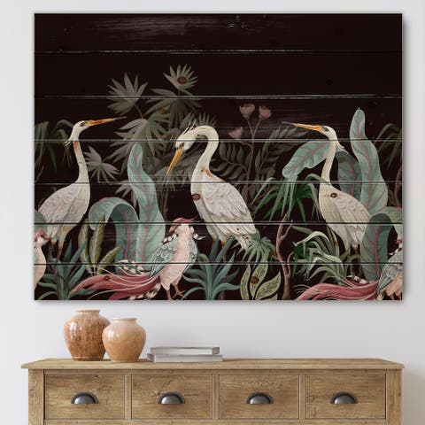 Designart 'Chinoiserie With Birds and Peonies III' Traditional Print on Natural Pine Wood
