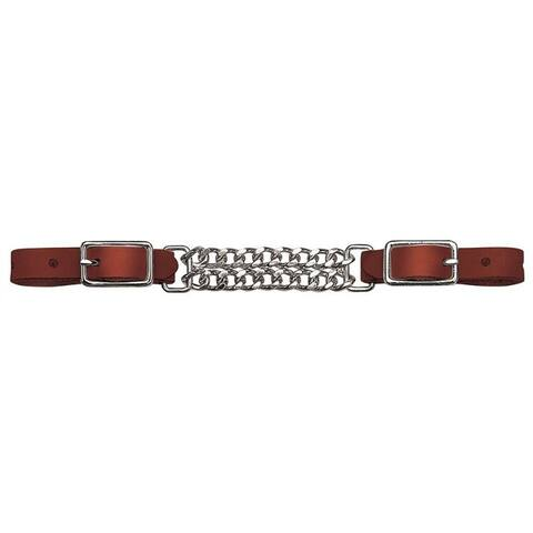 Weaver 30-1370 Mahogany Bridle Leather Double Flat Link Chain Curb Strap, 4-1/2""
