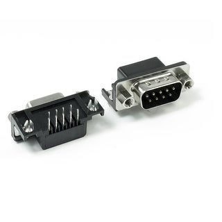 Unique Bargains DB9 9 Pin 2-Row Male Female Port Right Angle Solder Type Connector