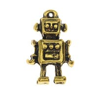 Lead-Free Pewter, Robot Charm 10x17mm, 2 Pieces, Antiqued Gold