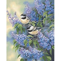 """Chickadees & Lilacs - Paint Works Paint By Number Kit 11""""X14"""""""
