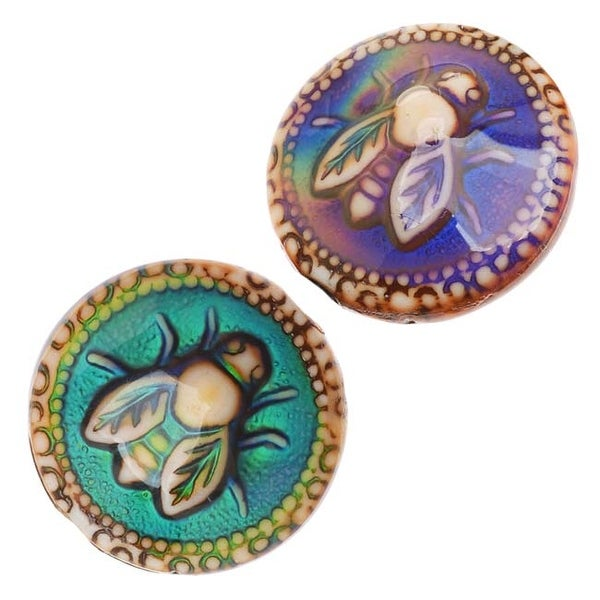 Mirage Color Changing Mood Beads - Round Spacer With Honey-Bee Pattern 19mm (2)