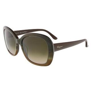 Salvatore Ferragamo SF678S 257 Brown Ochre Oversized Square sunglasses - 55-18-135