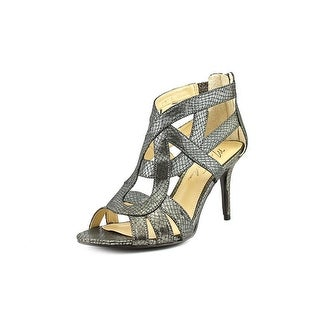 Marc Fisher Nala3 Women Open Toe Canvas Silver Sandals