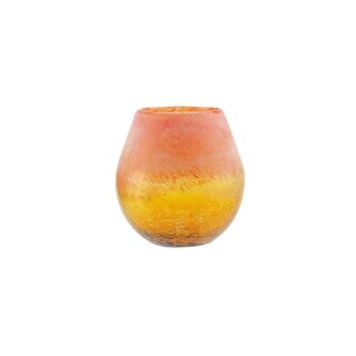 "5.5"" Amber Yellow Crackled and Coral Frosted Hand Blown Glass Vase"
