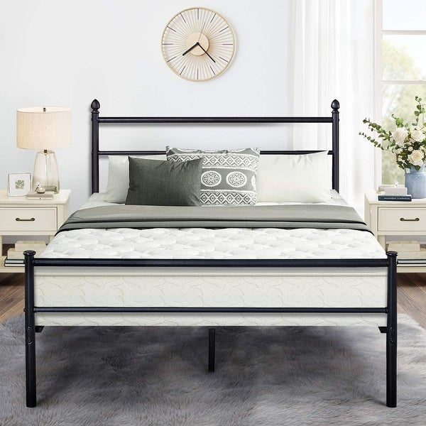 Black Classic Metal Bed Frames with Simple Headboard and Footboard by VECELO(Twin/Full/Queen 3 Size Options)