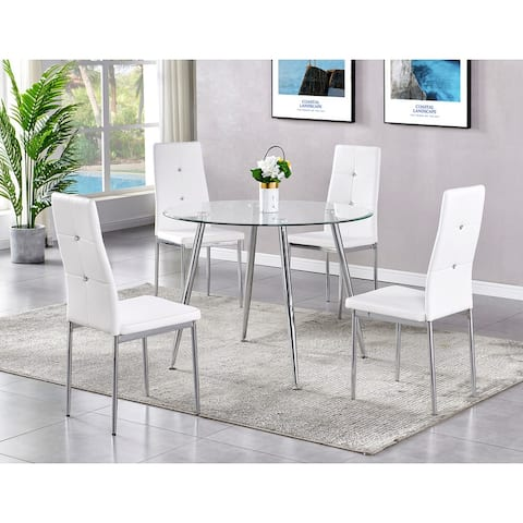 Best Master Furniture 5 Pieces Contemporary Glass Dinette Set