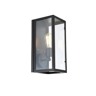Light Sconce With Glass Casing Bulb Included, Matte Black/Glass
