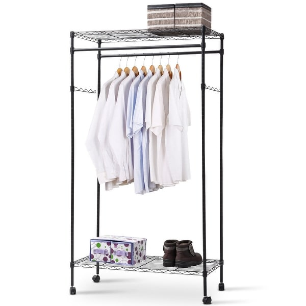shop costway garment rack double hanging clothes rail rolling adjustable rod portable shelf as. Black Bedroom Furniture Sets. Home Design Ideas