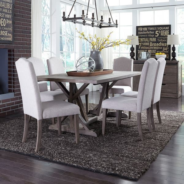 Carolina Lakes Wire Brushed Weathered Grey 7 Piece Trestle Dinette Set On Sale Overstock 18617673