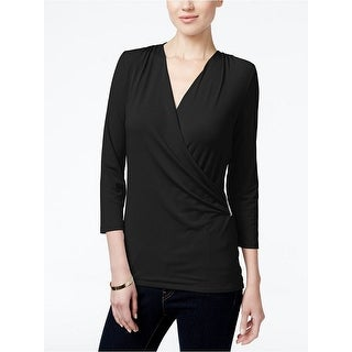 Charter Club Crossover Faux-Wrap Blouse Top, Deep Black, Size PS