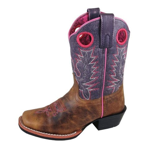 Smoky Mountain Western Boots Girls Ellie Pull On Brown Purple
