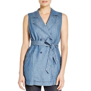 Sanctuary Womens Vest Chambray Double-Breasted