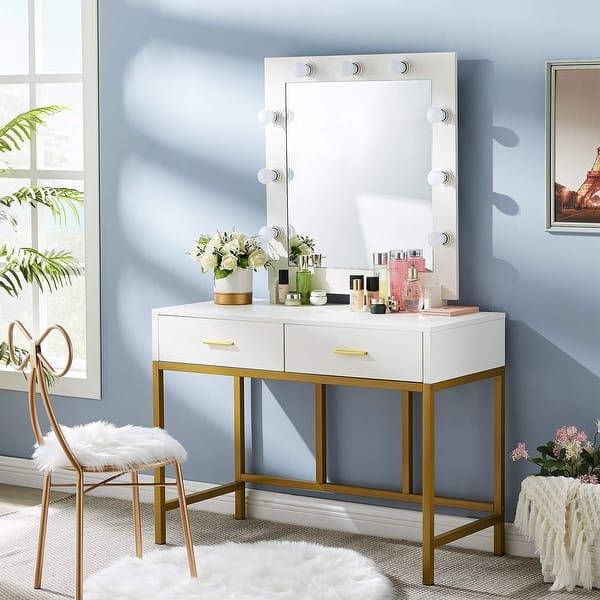 Round Mirror Makeup Dessing Table Home Bedroom Salon 2 Drawers Wood Black Desk