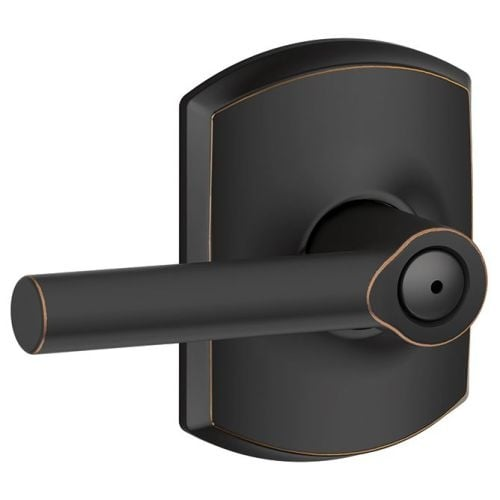 Schlage F40 BRW GRW Broadway Privacy Door Lever Set With Decorative  Greenwich Trim