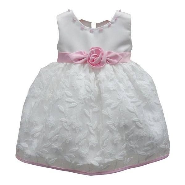 Baby Girls White Pink Floral Embroidered Bead Flower Girl Dress 6-24M