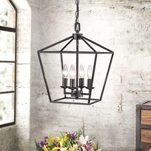 Ashley Antique Black 4-light Iron Cage Chandelier
