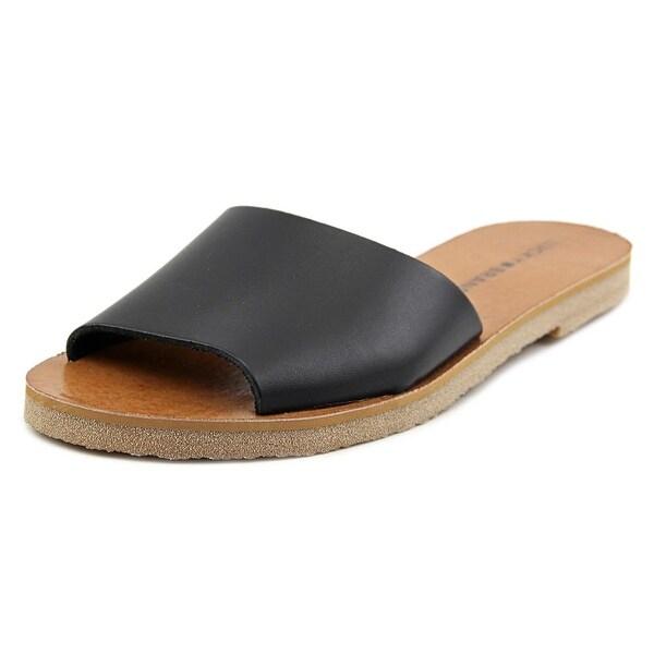 Lucky Brand Dorian Women Open Toe Leather Black Slides Sandal