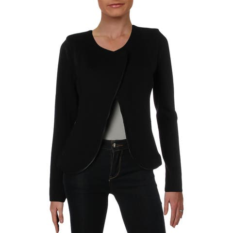Nic + Zoe Womens Tux Collarless Blazer Long Sleeves Office