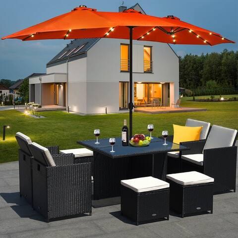 Costway 15Ft Patio Double-Sided Solar LED Market Umbrella Crank Base