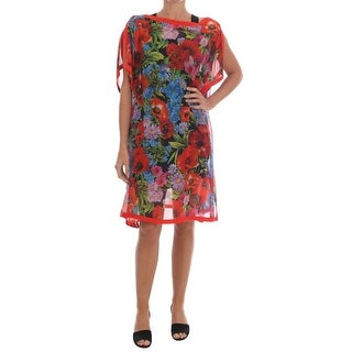 Dolce & Gabbana Multicolor Floral Silk Poncho Dress