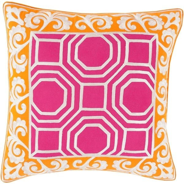 "22"" Berry Pink and Carrot Orange Geometric & Scroll Print Decorative Throw Pillow"
